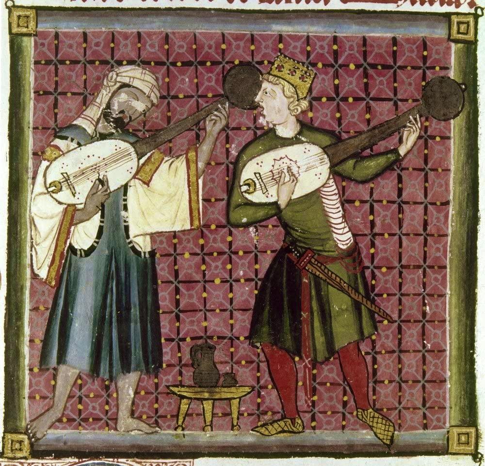 Chrétien et musulman jouant du luth.