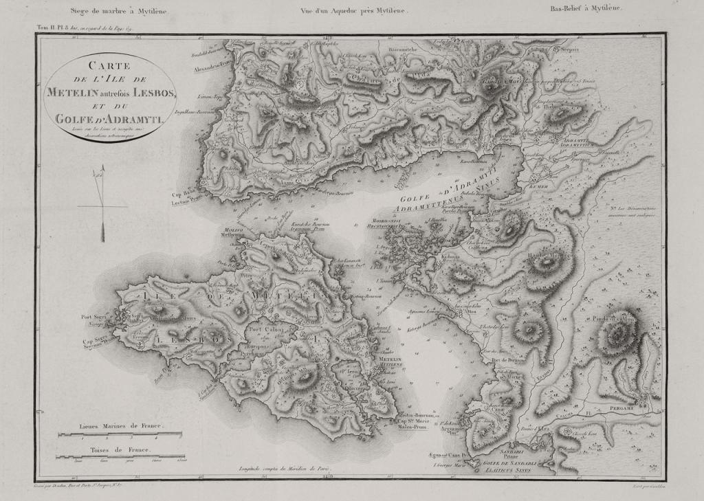 Carte de Mytilène par le comte de Choiseuil (1842)